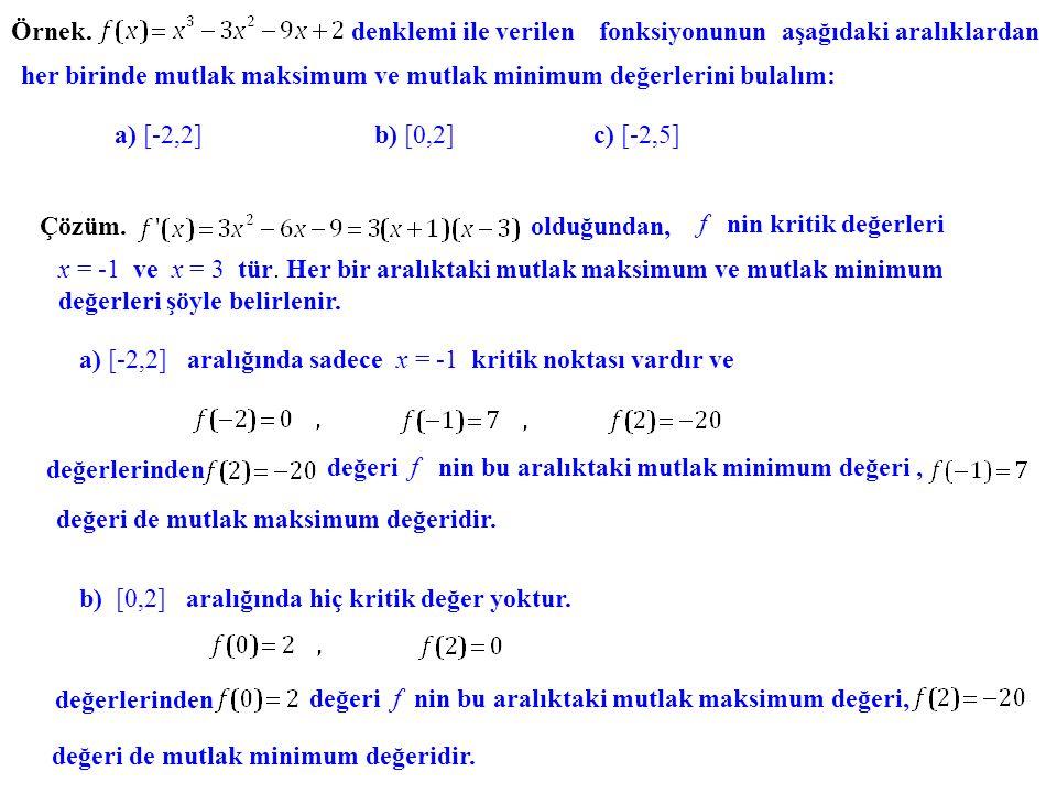 Örnek. denklemi ile verilen fonksiyonunun aşağıdaki aralıklardan. her birinde mutlak maksimum ve mutlak minimum değerlerini bulalım: