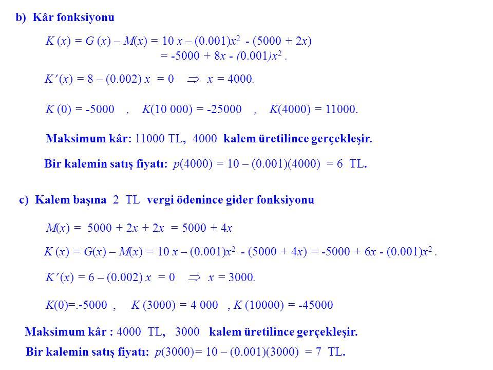 b) Kâr fonksiyonu K (x) = G (x) – M(x) = 10 x – (0.001)x2 - (5000 + 2x) = -5000 + 8x - (0.001)x2 .