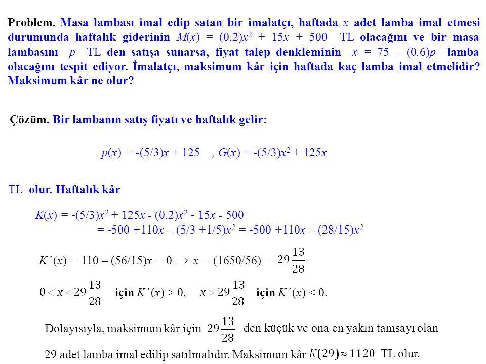 p(x) = -(5/3)x + 125 , G(x) = -(5/3)x2 + 125x