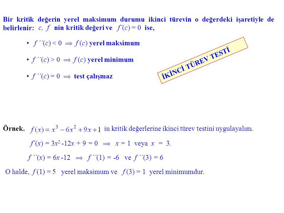 Bir kritik değerin yerel maksimum durumu ikinci türevin o değerdeki işaretiyle de belirlenir: