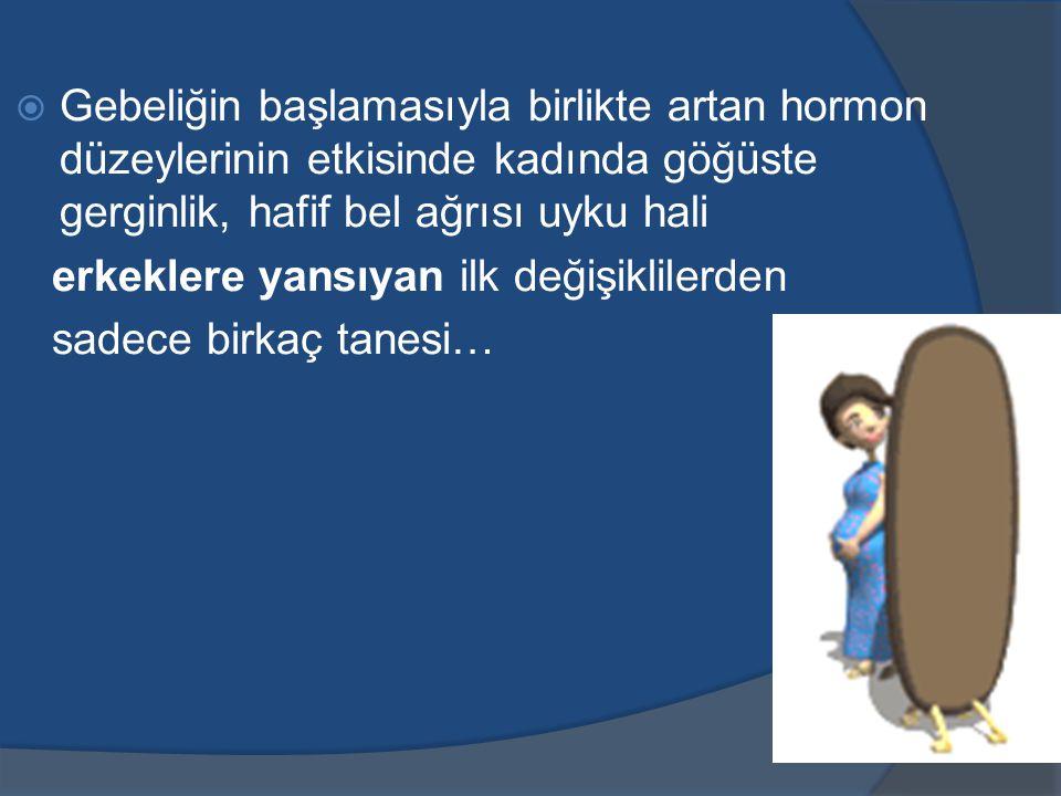 Gebeliğin başlamasıyla birlikte artan hormon düzeylerinin etkisinde kadında göğüste gerginlik, hafif bel ağrısı uyku hali