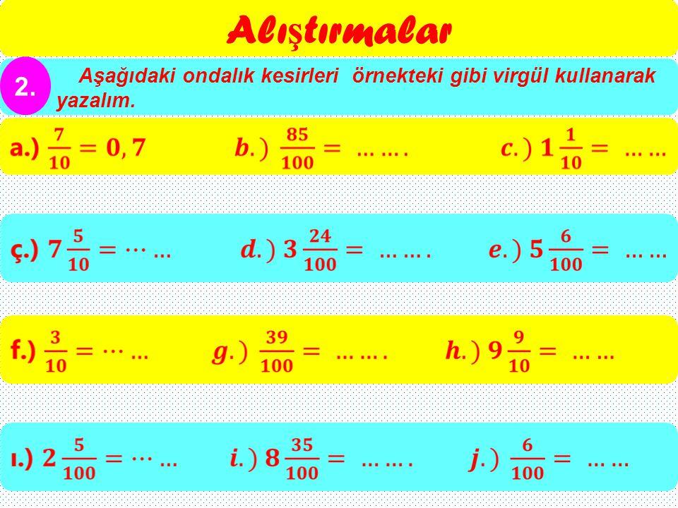 Alıştırmalar Aşağıdaki ondalık kesirleri örnekteki gibi virgül kullanarak yazalım. 2.