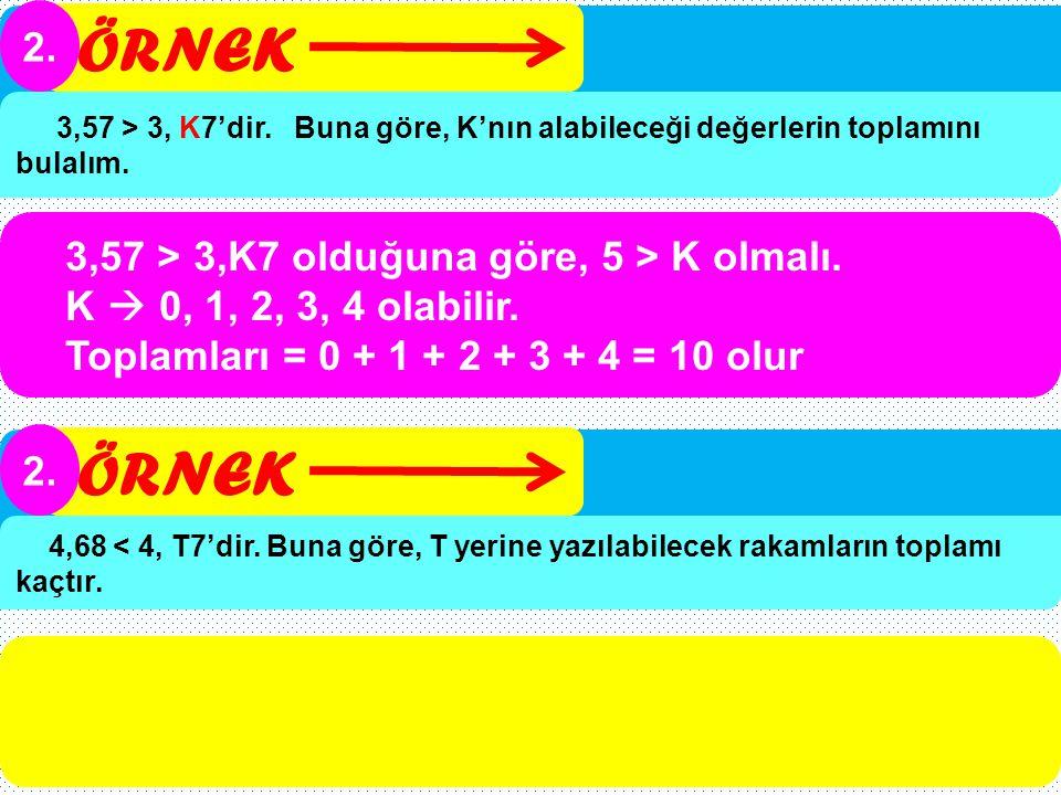 ÖRNEK ÖRNEK 2. 3,57 > 3,K7 olduğuna göre, 5 > K olmalı.