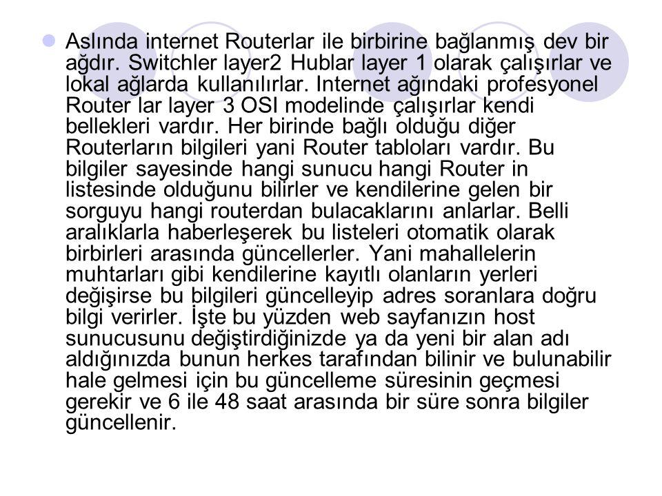 Aslında internet Routerlar ile birbirine bağlanmış dev bir ağdır