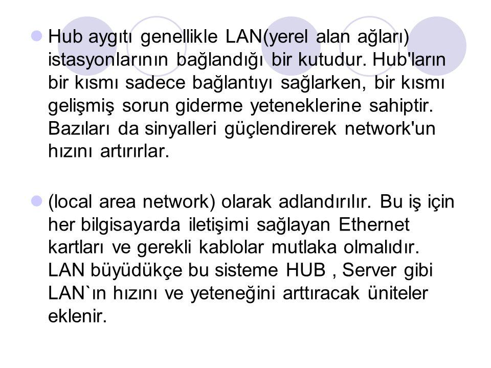 Hub aygıtı genellikle LAN(yerel alan ağları) istasyonlarının bağlandığı bir kutudur. Hub ların bir kısmı sadece bağlantıyı sağlarken, bir kısmı gelişmiş sorun giderme yeteneklerine sahiptir. Bazıları da sinyalleri güçlendirerek network un hızını artırırlar.