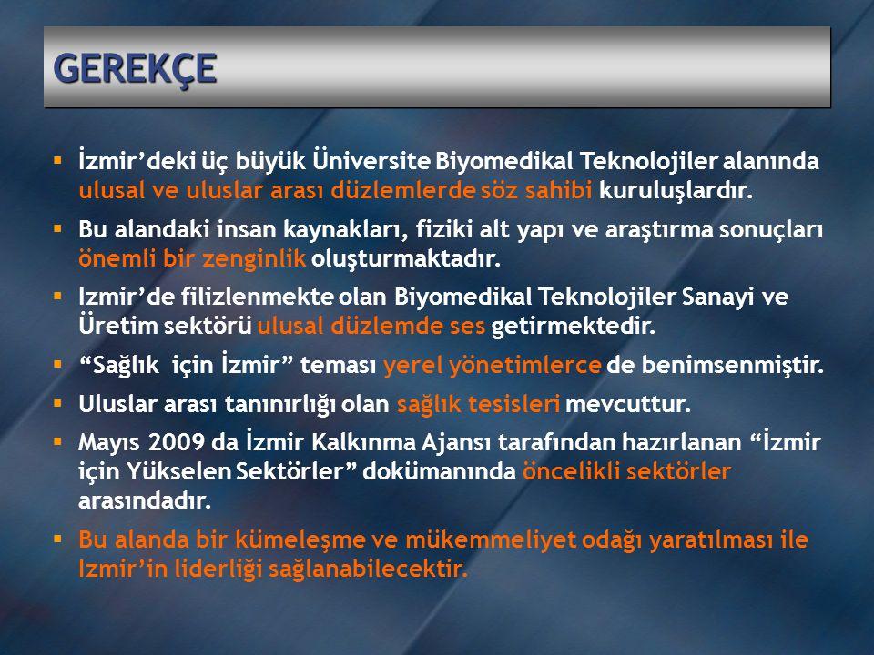 GEREKÇE İzmir'deki üç büyük Üniversite Biyomedikal Teknolojiler alanında ulusal ve uluslar arası düzlemlerde söz sahibi kuruluşlardır.