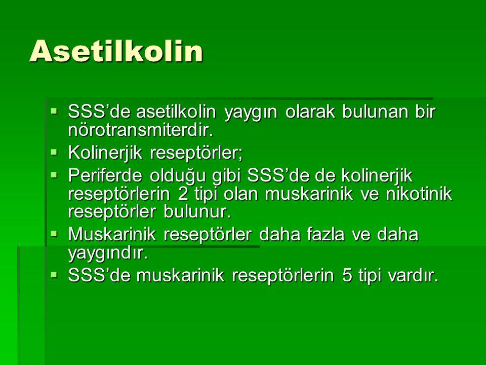 Asetilkolin SSS'de asetilkolin yaygın olarak bulunan bir nörotransmiterdir. Kolinerjik reseptörler;