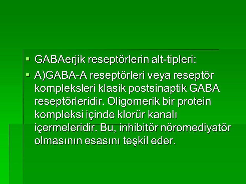 GABAerjik reseptörlerin alt-tipleri: