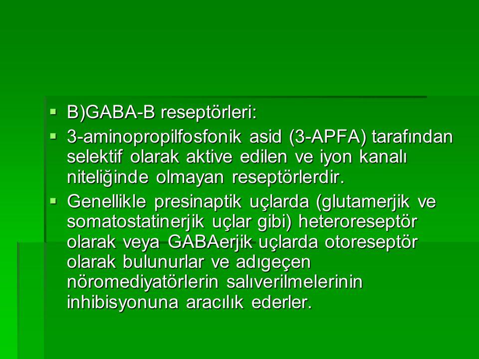 B)GABA-B reseptörleri: