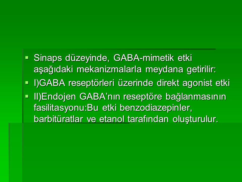 Sinaps düzeyinde, GABA-mimetik etki aşağıdaki mekanizmalarla meydana getirilir: