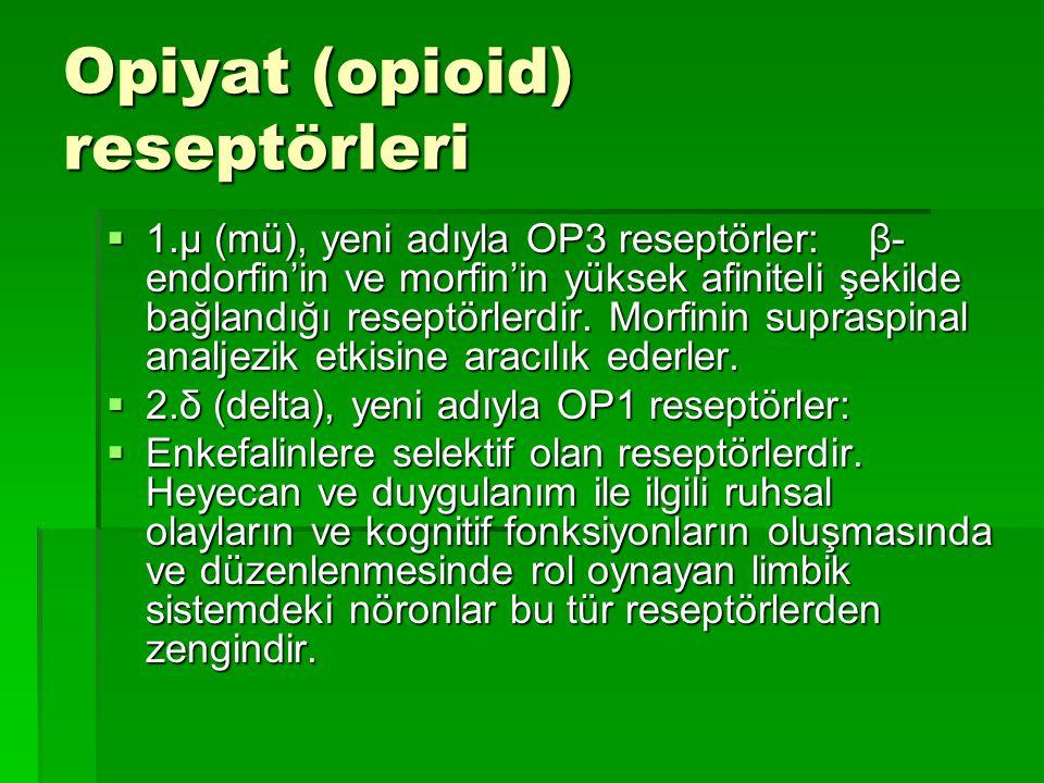 Opiyat (opioid) reseptörleri