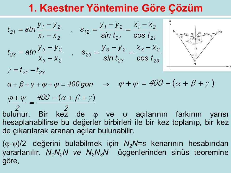 1. Kaestner Yöntemine Göre Çözüm