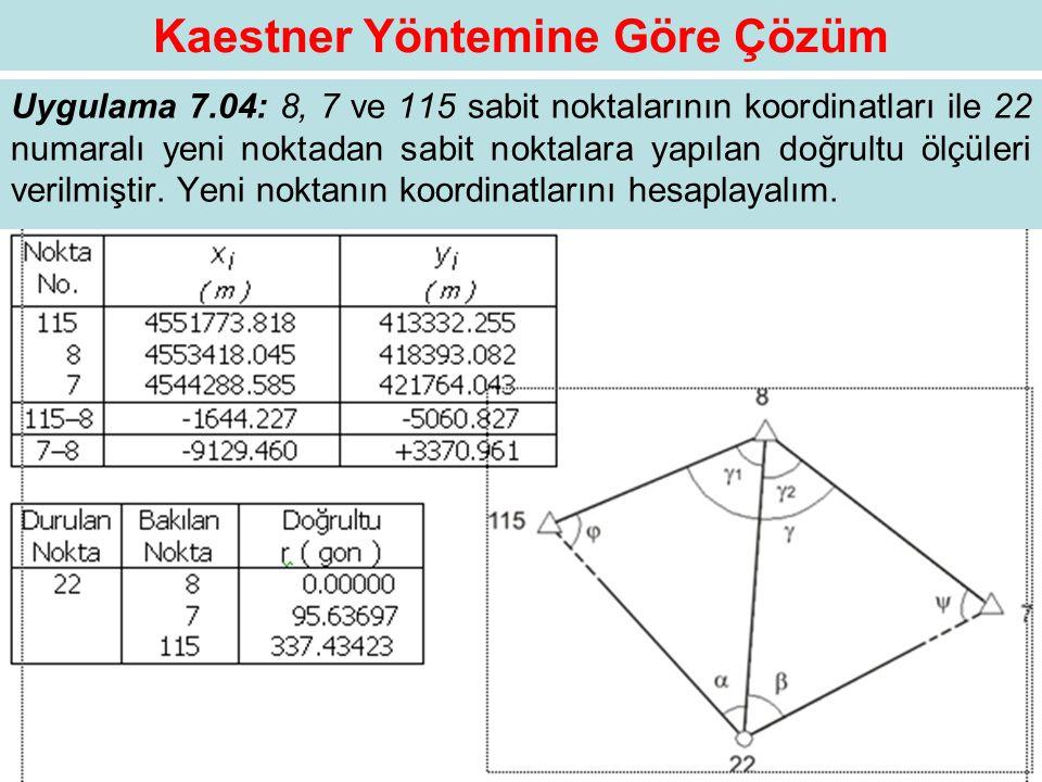 Kaestner Yöntemine Göre Çözüm