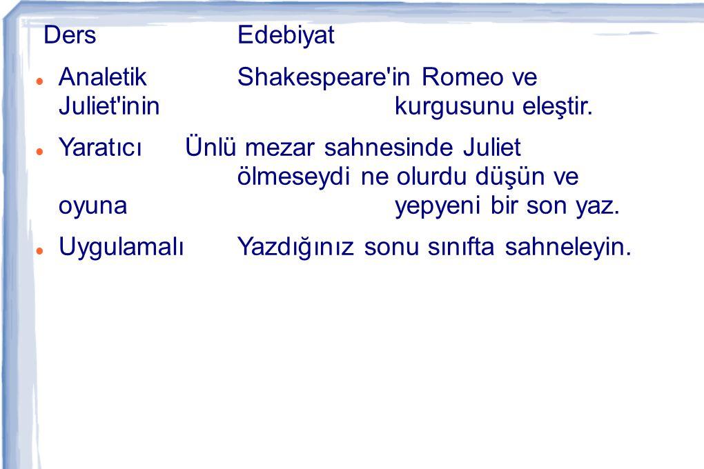 Ders Edebiyat Analetik Shakespeare in Romeo ve Juliet inin kurgusunu eleştir.