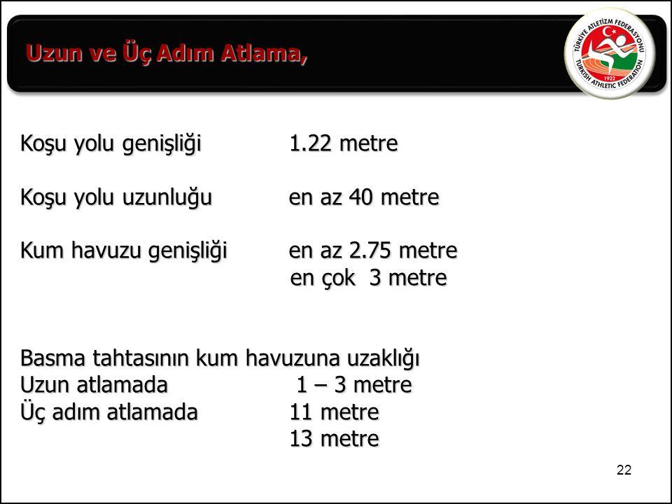 Uzun ve Üç Adım Atlama, Koşu yolu genişliği 1.22 metre. Koşu yolu uzunluğu en az 40 metre.