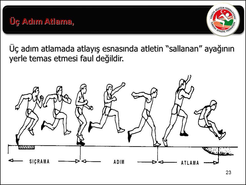 Üç Adım Atlama, Üç adım atlamada atlayış esnasında atletin sallanan ayağının yerle temas etmesi faul değildir.