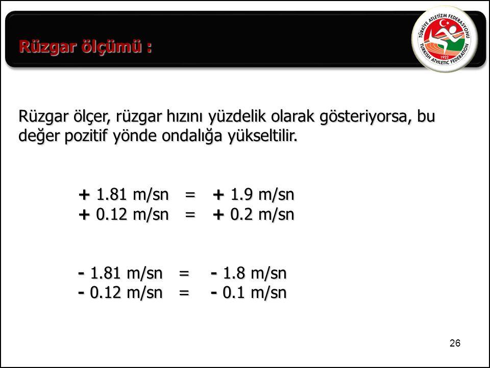 Rüzgar ölçümü : Rüzgar ölçer, rüzgar hızını yüzdelik olarak gösteriyorsa, bu değer pozitif yönde ondalığa yükseltilir.