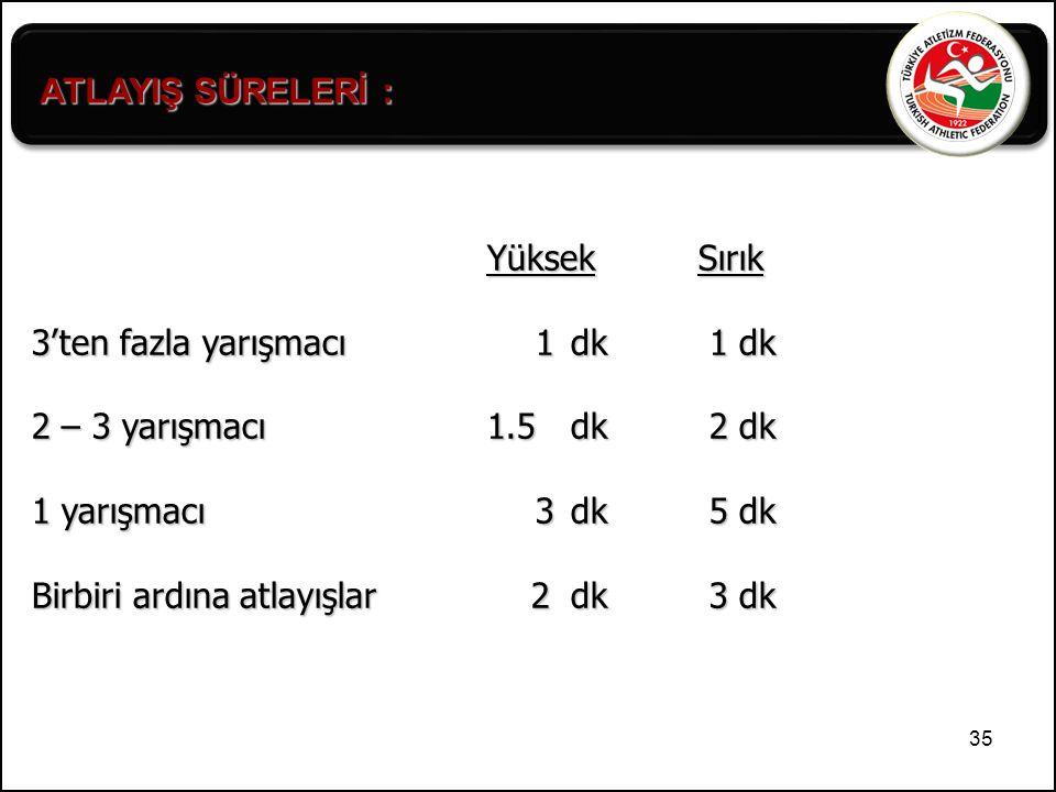 ATLAYIŞ SÜRELERİ : Yüksek Sırık. 3'ten fazla yarışmacı 1 dk 1 dk. 2 – 3 yarışmacı 1.5 dk 2 dk.