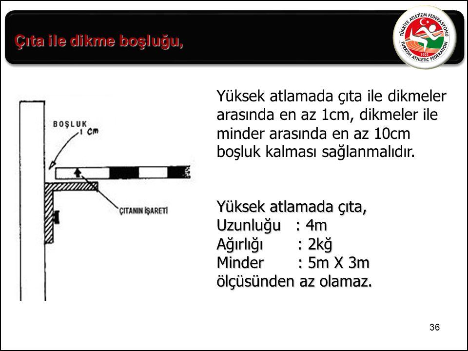 Çıta ile dikme boşluğu, Yüksek atlamada çıta ile dikmeler arasında en az 1cm, dikmeler ile minder arasında en az 10cm boşluk kalması sağlanmalıdır.