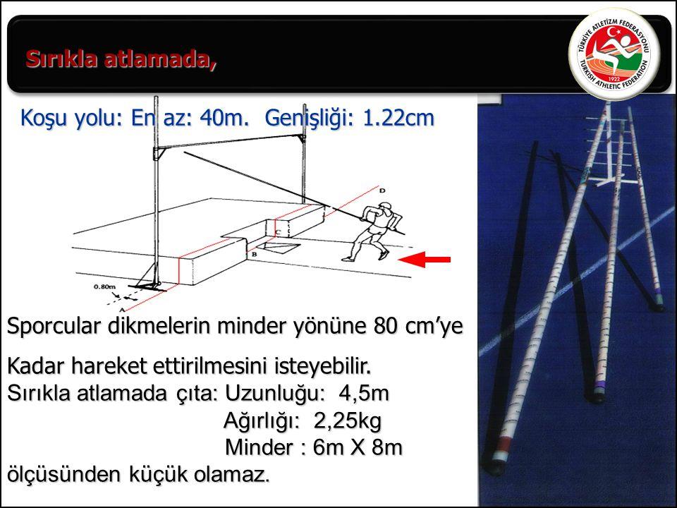 Sırıkla atlamada, Koşu yolu: En az: 40m. Genişliği: 1.22cm. Sporcular dikmelerin minder yönüne 80 cm'ye.