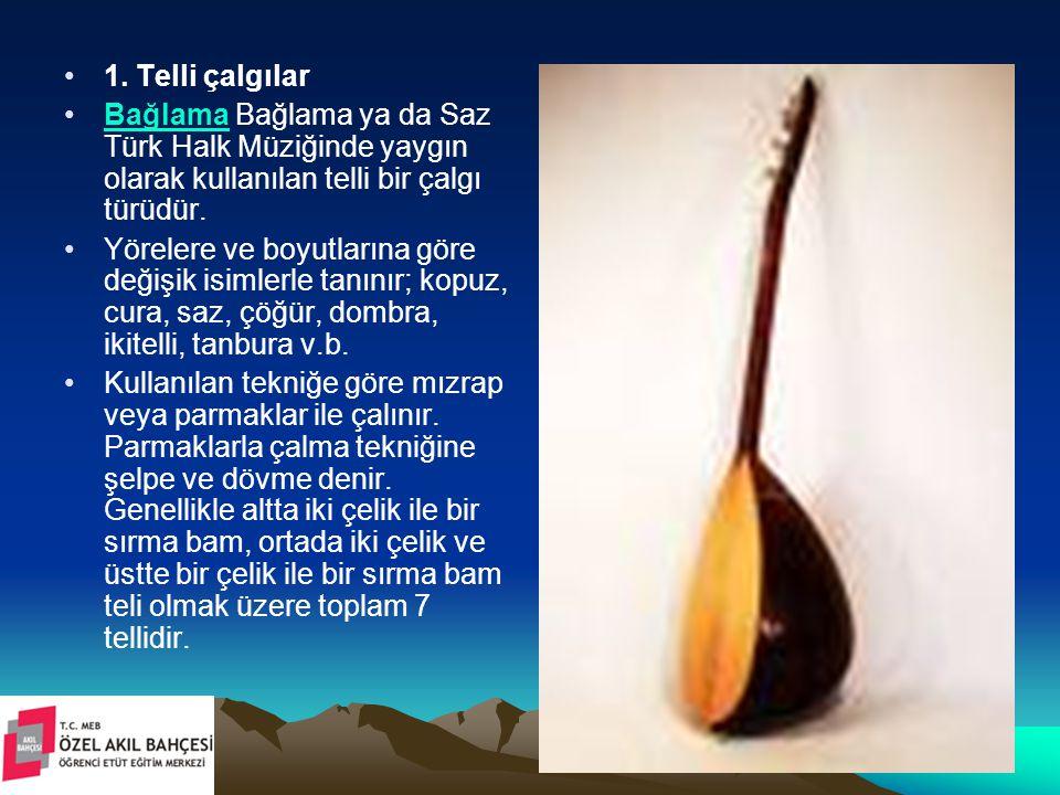1. Telli çalgılar Bağlama Bağlama ya da Saz Türk Halk Müziğinde yaygın olarak kullanılan telli bir çalgı türüdür.