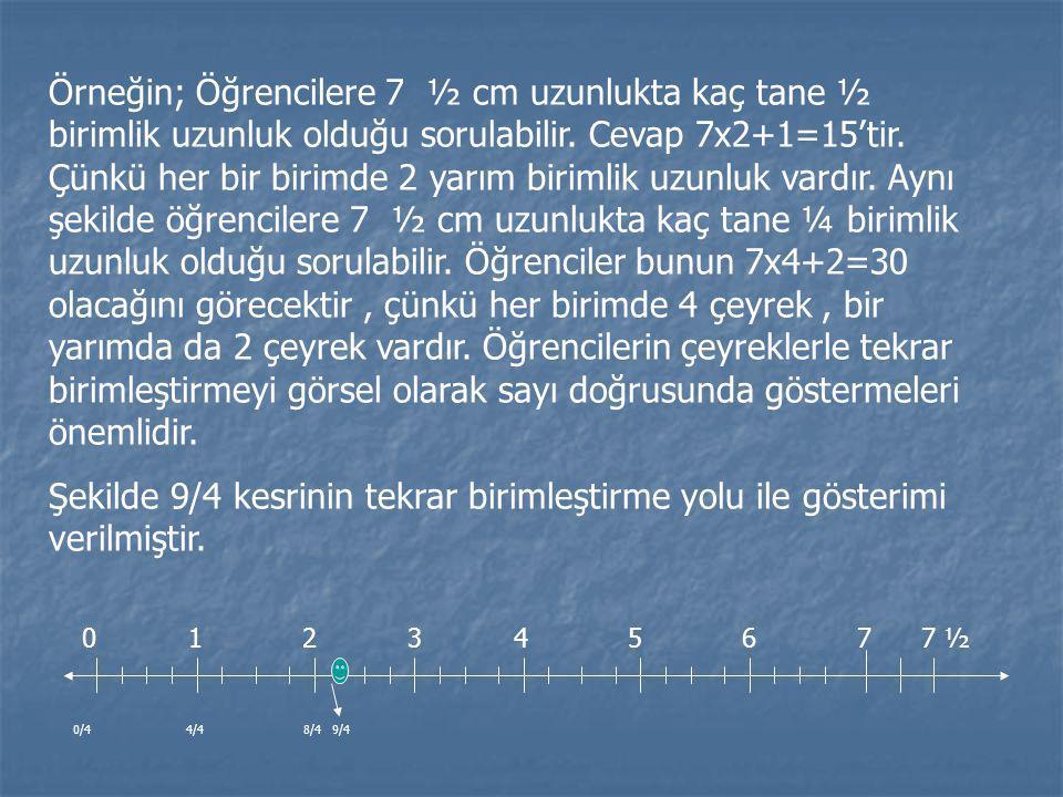 Örneğin; Öğrencilere 7 ½ cm uzunlukta kaç tane ½ birimlik uzunluk olduğu sorulabilir. Cevap 7x2+1=15'tir. Çünkü her bir birimde 2 yarım birimlik uzunluk vardır. Aynı şekilde öğrencilere 7 ½ cm uzunlukta kaç tane ¼ birimlik uzunluk olduğu sorulabilir. Öğrenciler bunun 7x4+2=30 olacağını görecektir , çünkü her birimde 4 çeyrek , bir yarımda da 2 çeyrek vardır. Öğrencilerin çeyreklerle tekrar birimleştirmeyi görsel olarak sayı doğrusunda göstermeleri önemlidir.