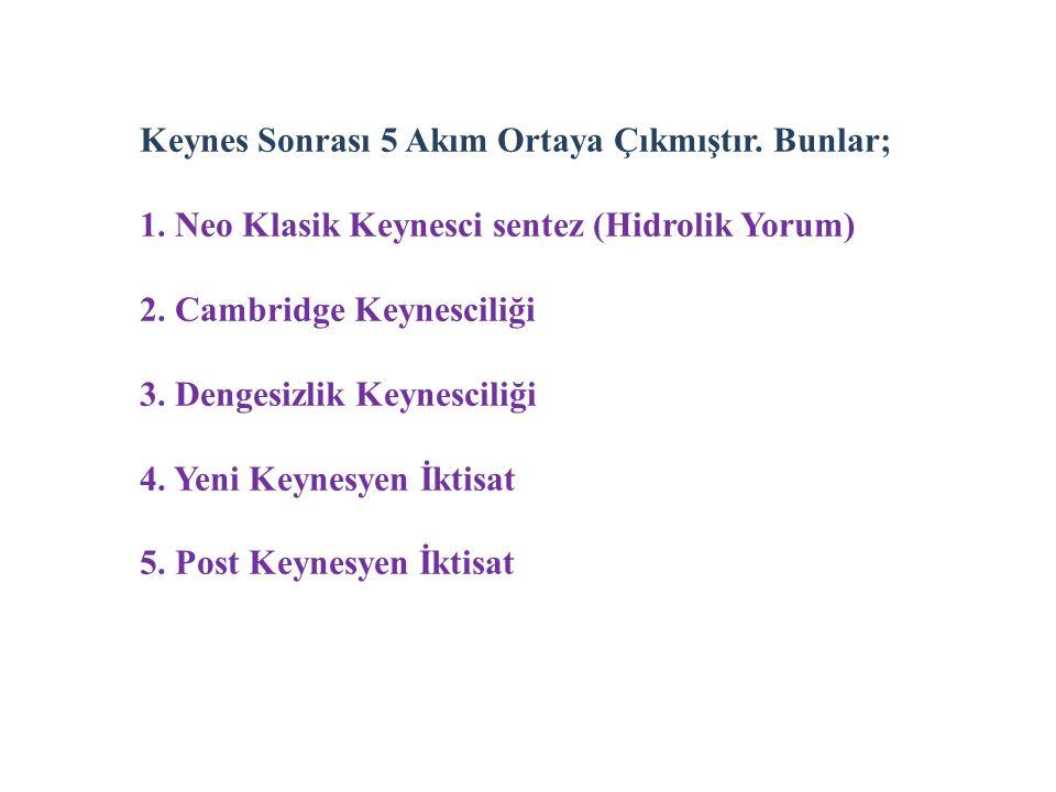 Keynes Sonrası 5 Akım Ortaya Çıkmıştır. Bunlar; 1