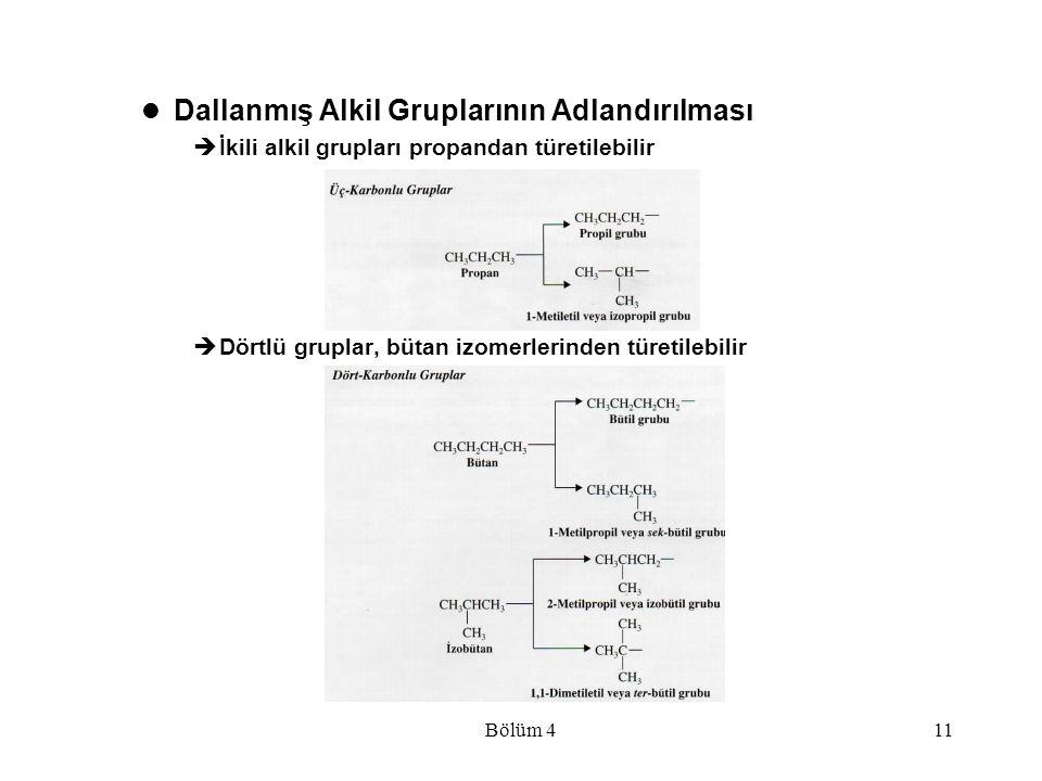 Dallanmış Alkil Gruplarının Adlandırılması