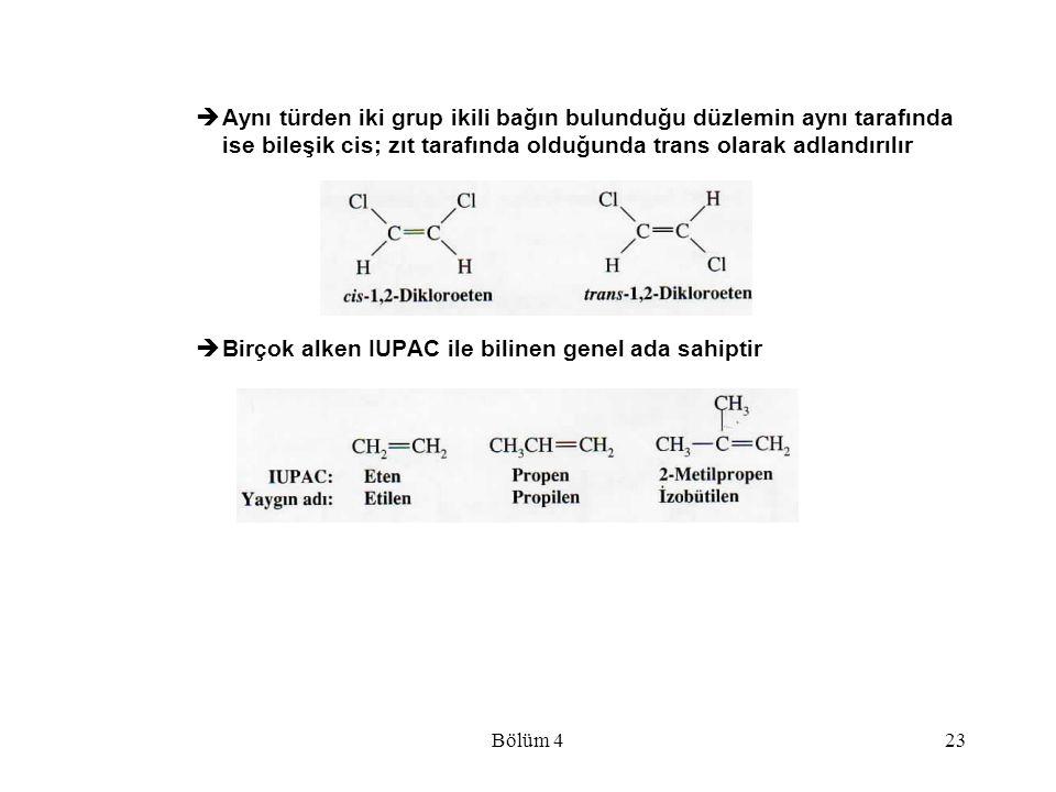 Birçok alken IUPAC ile bilinen genel ada sahiptir