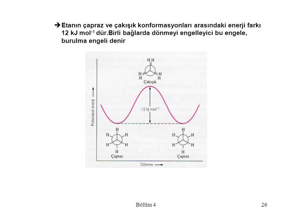 Etanın çapraz ve çakışık konformasyonları arasındaki enerji farkı 12 kJ mol-1 dür.Birli bağlarda dönmeyi engelleyici bu engele, burulma engeli denir