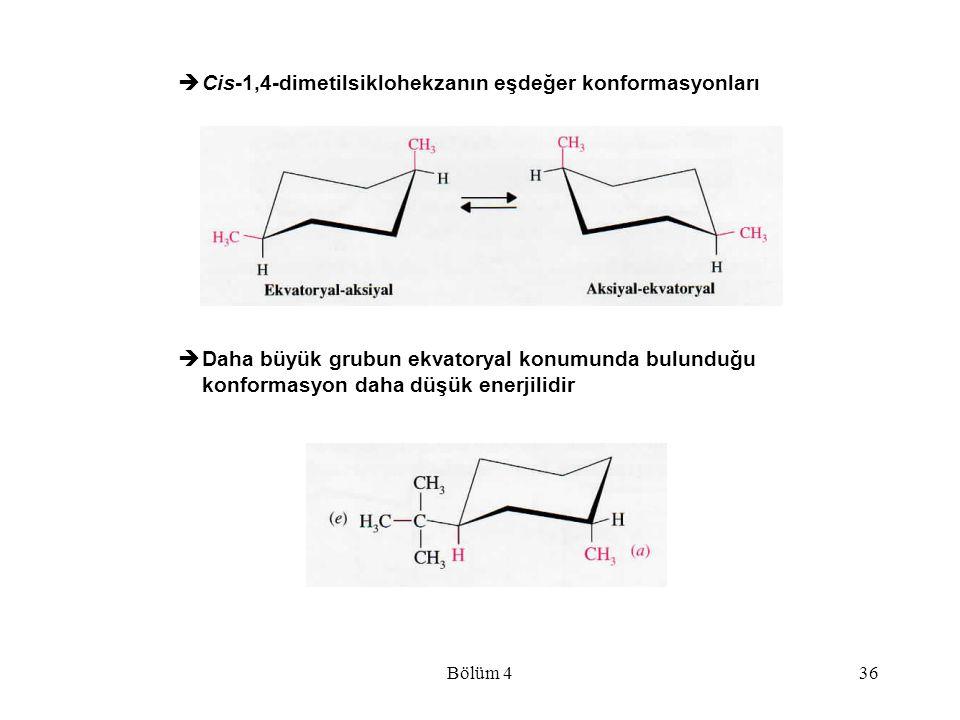Cis-1,4-dimetilsiklohekzanın eşdeğer konformasyonları