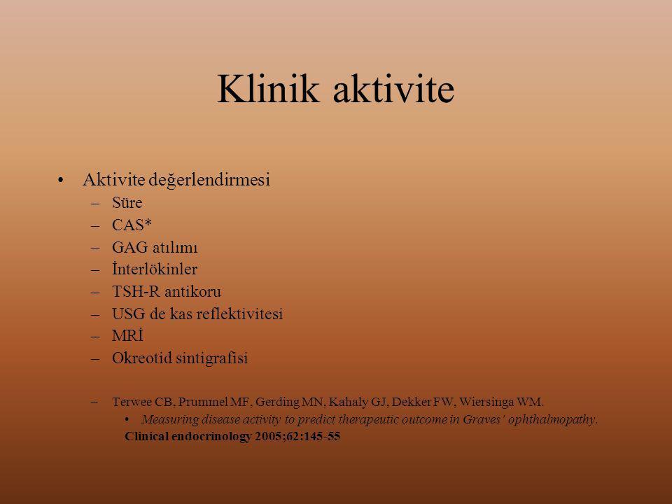 Klinik aktivite Aktivite değerlendirmesi Süre CAS* GAG atılımı