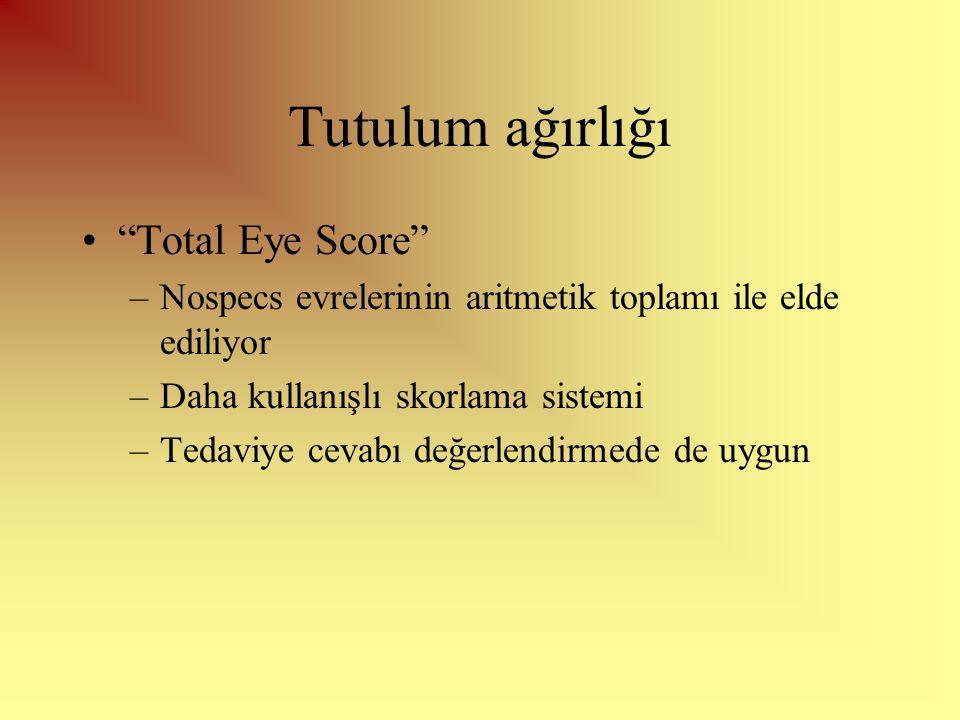 Tutulum ağırlığı Total Eye Score