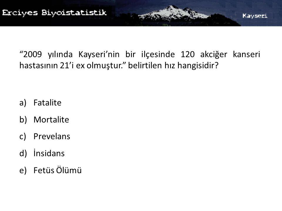2009 yılında Kayseri'nin bir ilçesinde 120 akciğer kanseri hastasının 21'i ex olmuştur. belirtilen hız hangisidir
