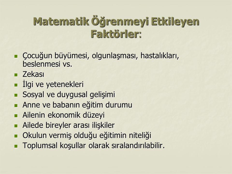 Matematik Öğrenmeyi Etkileyen Faktörler:
