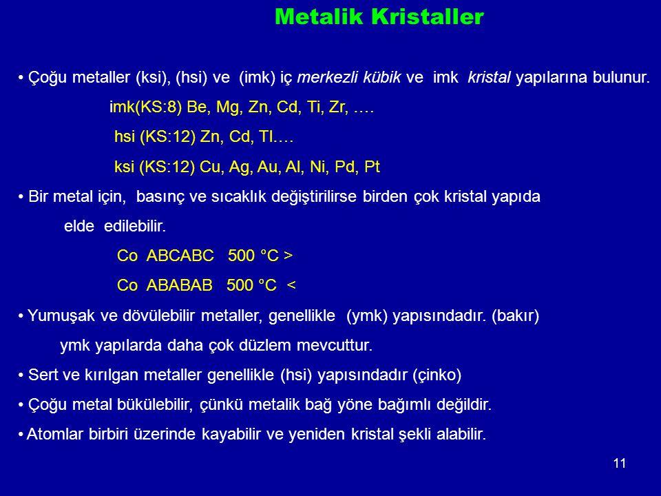 Metalik Kristaller Çoğu metaller (ksi), (hsi) ve (imk) iç merkezli kübik ve imk kristal yapılarına bulunur.