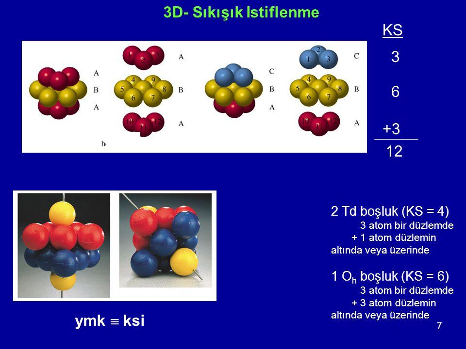 3D- Sıkışık Istiflenme KS 3 6 +3 12 ymk  ksi 2 Td boşluk (KS = 4)