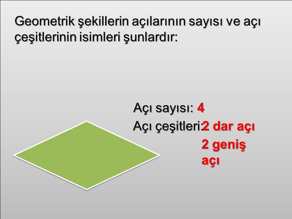 Geometrik şekillerin açılarının sayısı ve açı çeşitlerinin isimleri şunlardır: