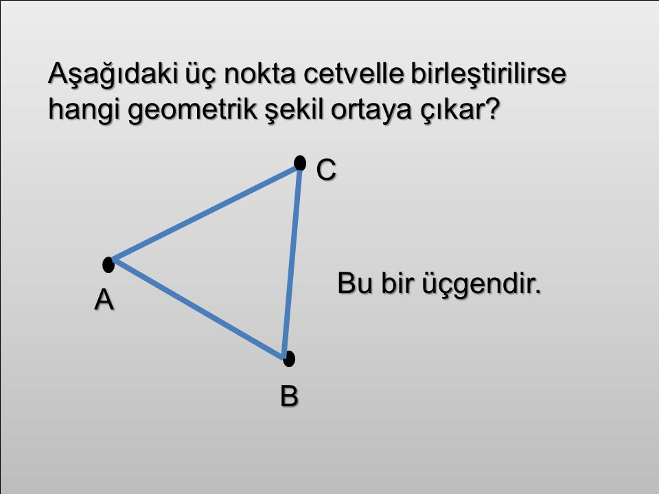 Aşağıdaki üç nokta cetvelle birleştirilirse hangi geometrik şekil ortaya çıkar