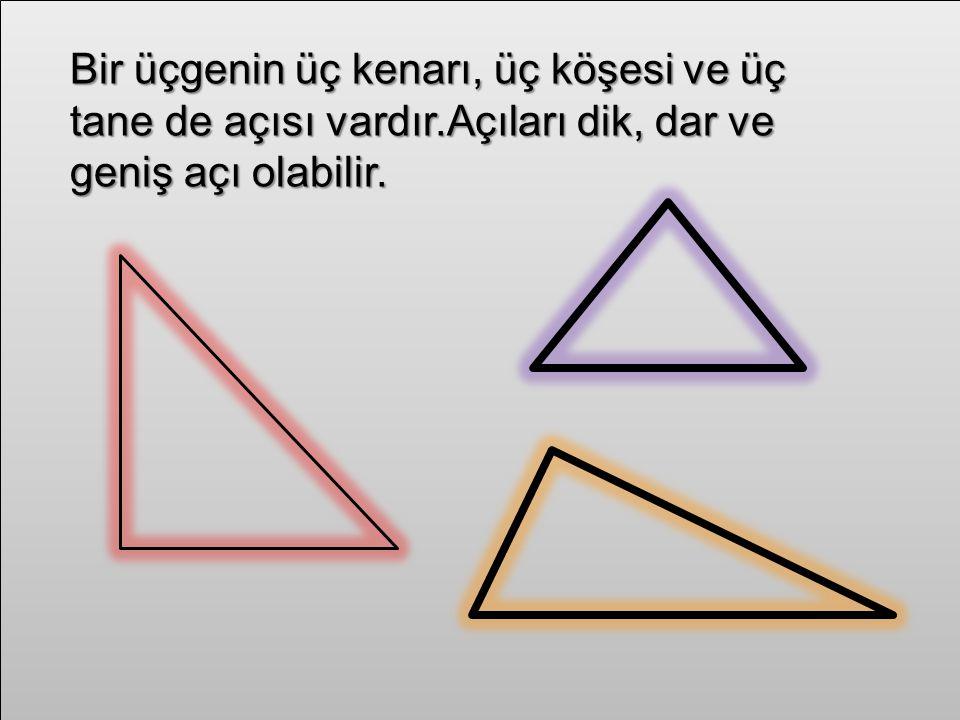 Bir üçgenin üç kenarı, üç köşesi ve üç tane de açısı vardır