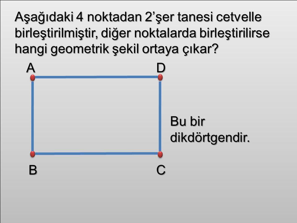 Aşağıdaki 4 noktadan 2'şer tanesi cetvelle birleştirilmiştir, diğer noktalarda birleştirilirse hangi geometrik şekil ortaya çıkar