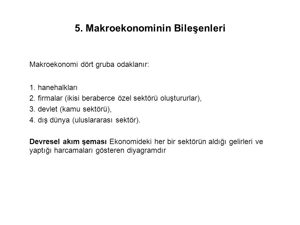 5. Makroekonominin Bileşenleri
