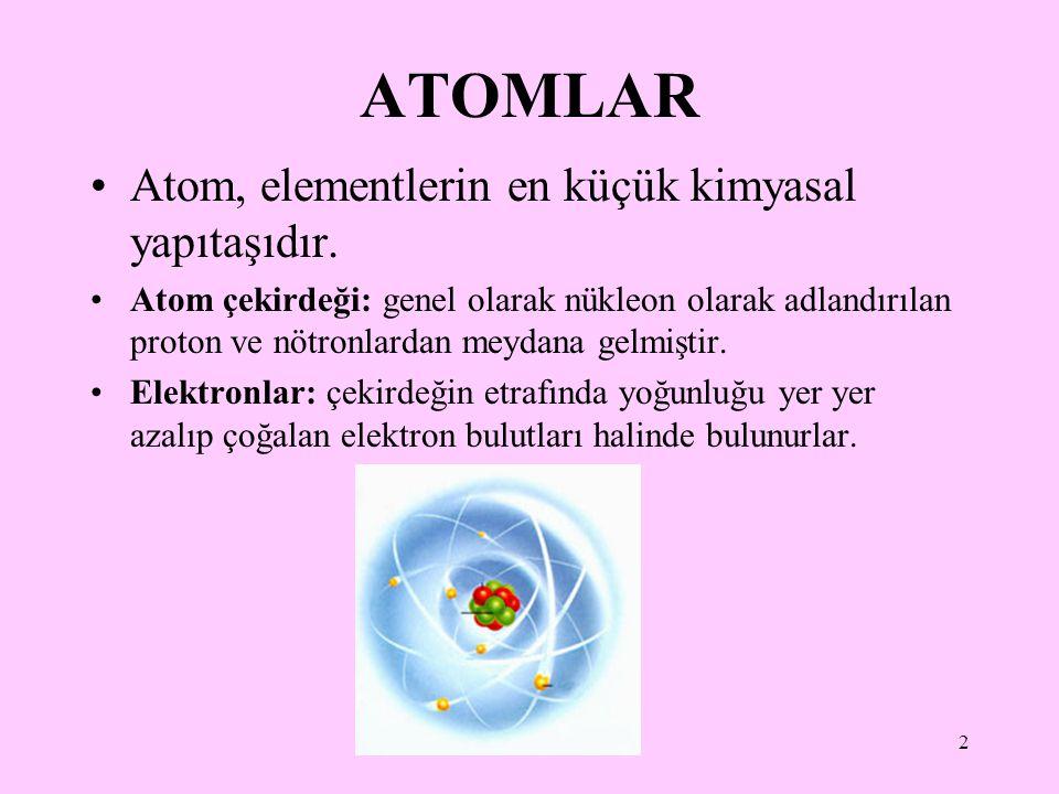ATOMLAR Atom, elementlerin en küçük kimyasal yapıtaşıdır.