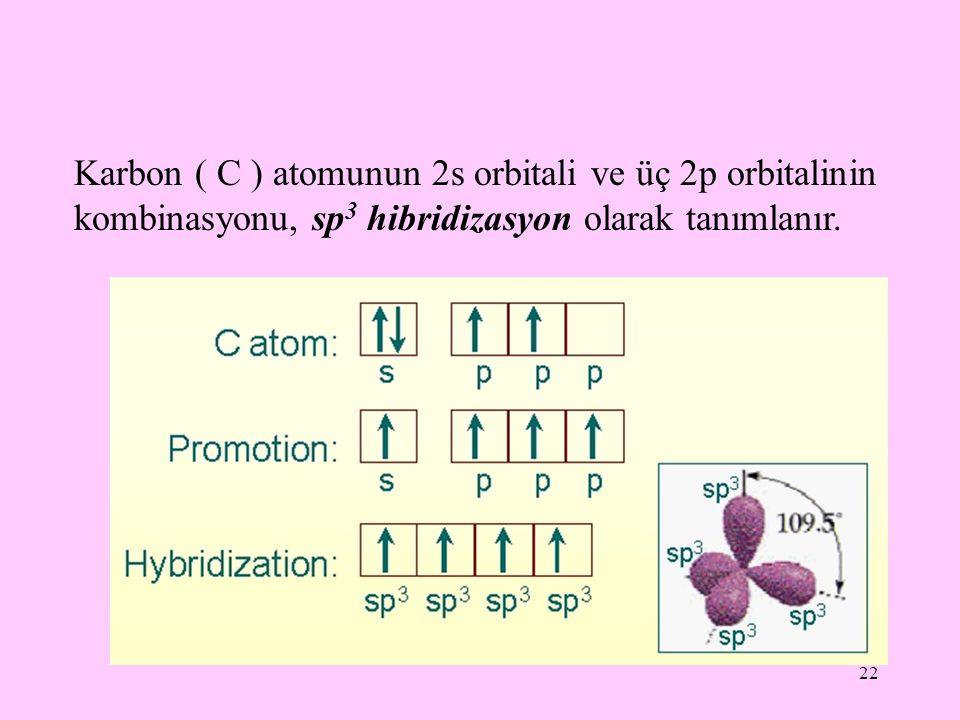 Karbon ( C ) atomunun 2s orbitali ve üç 2p orbitalinin kombinasyonu, sp3 hibridizasyon olarak tanımlanır.