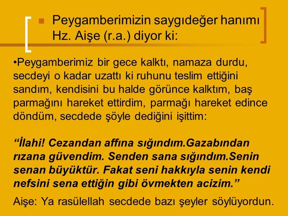 Peygamberimizin saygıdeğer hanımı Hz. Aişe (r.a.) diyor ki: