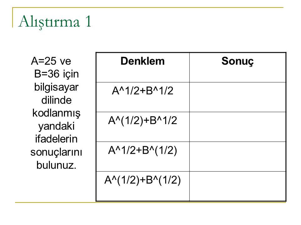 Alıştırma 1 A=25 ve B=36 için bilgisayar dilinde kodlanmış yandaki ifadelerin sonuçlarını bulunuz. Denklem.