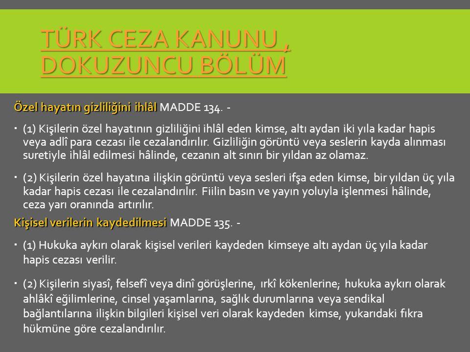 Türk Ceza Kanunu , Dokuzuncu Bölüm