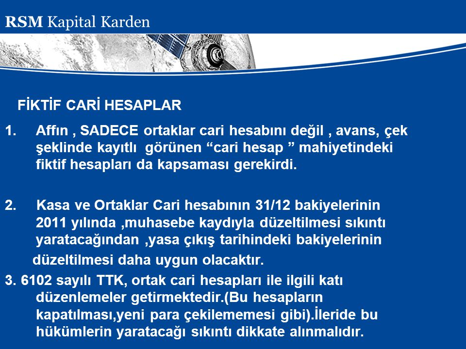 RSM Kapital Karden FİKTİF CARİ HESAPLAR