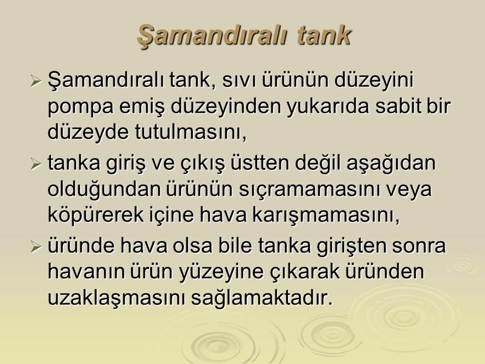 Şamandıralı tank Şamandıralı tank, sıvı ürünün düzeyini pompa emiş düzeyinden yukarıda sabit bir düzeyde tutulmasını,