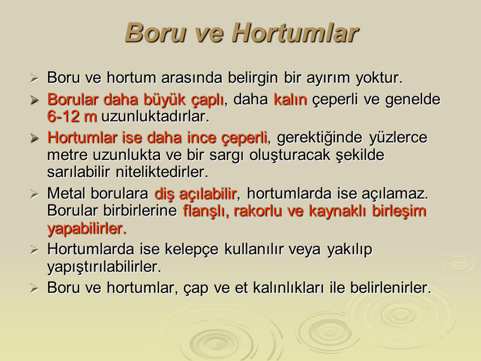 Boru ve Hortumlar Boru ve hortum arasında belirgin bir ayırım yoktur.